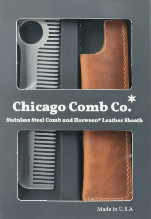 Chicago_Comb_Gift_Set_Stainless Steel Comb and Horween Leather Sheath